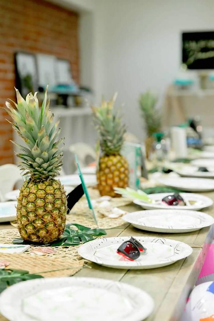 Pineapple Party Table form a California Dreamin' Birthday Bash on Kara's Party Ideas | KarasPartyIdeas.com (23)