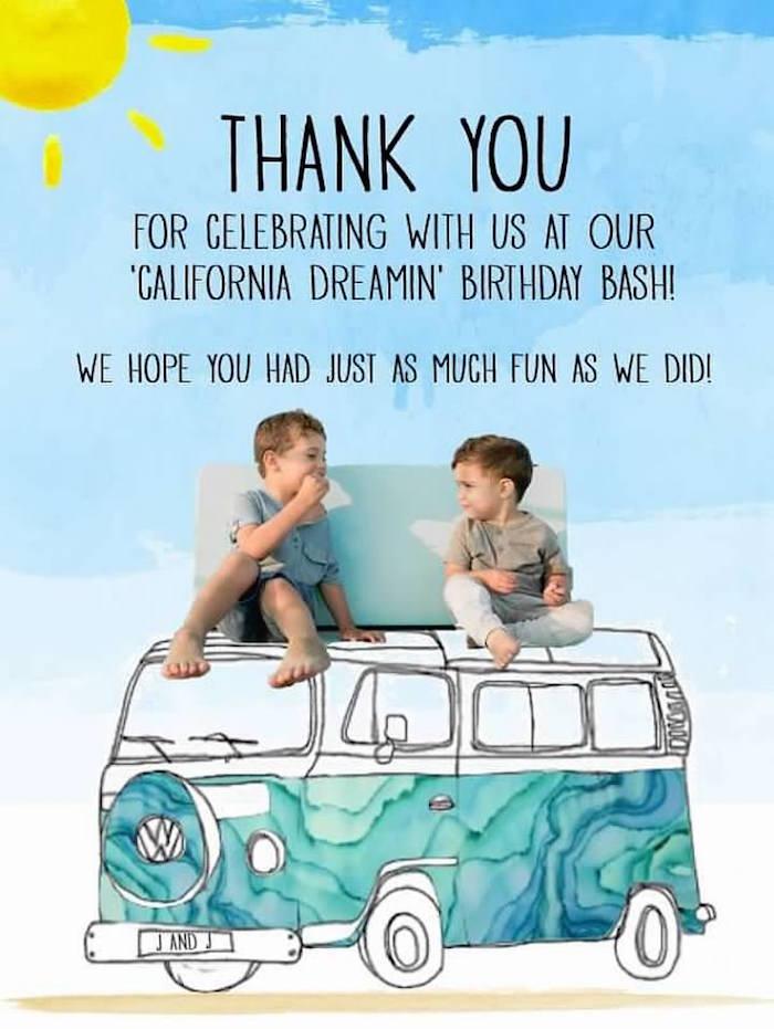 VW Thank You Print from a California Dreamin' Birthday Bash on Kara's Party Ideas | KarasPartyIdeas.com (22)