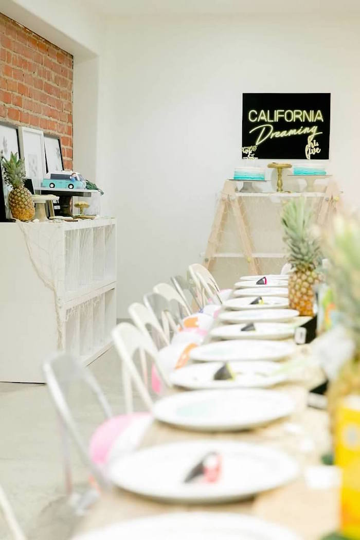 Tropical Party Tables from a California Dreamin' Birthday Bash on Kara's Party Ideas | KarasPartyIdeas.com (21)