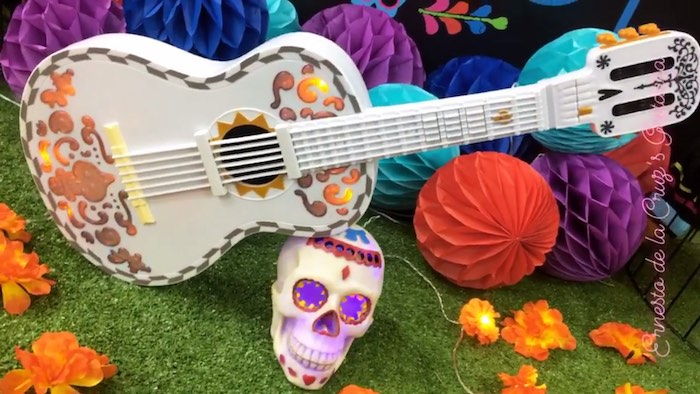 Dela Cruz Guitar Prop from a Coco Inspired Birthday Fiesta on Kara's Party Ideas | KarasPartyIdeas.com (9)