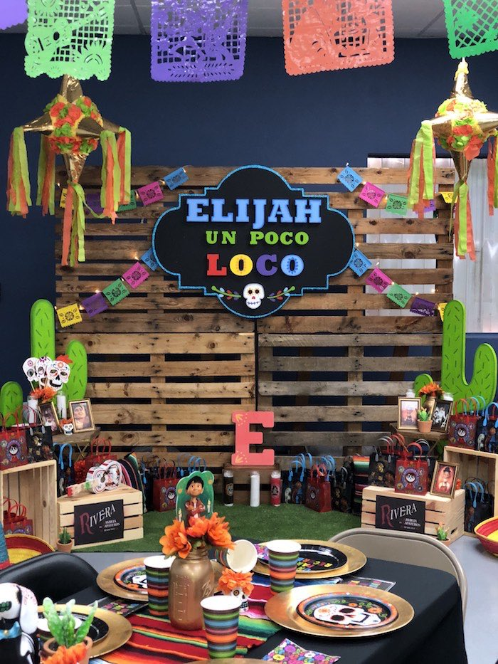 Pallet Board Ofrenda Backdrop from a Coco Inspired Birthday Fiesta on Kara's Party Ideas | KarasPartyIdeas.com (25)