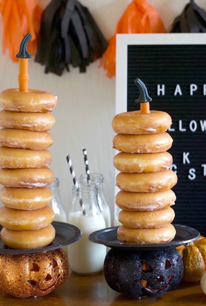 Pumpkin-topped Donut Stacks from a Donut Be Tricked! Halloween Party on Kara's Party Ideas | KarasPartyIdeas.com (7)