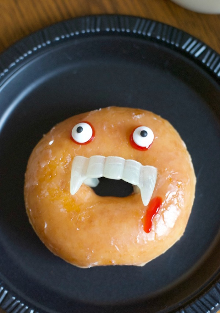 Vampire Donut from a Donut Be Tricked! Halloween Party on Kara's Party Ideas | KarasPartyIdeas.com (6)