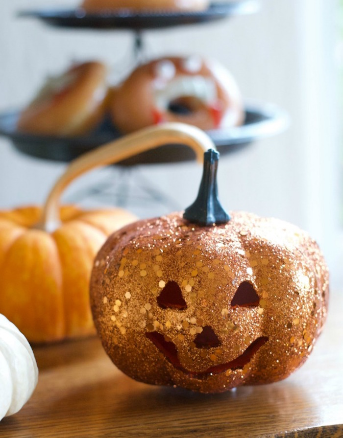 Glitter Pumpkin from a Donut Be Tricked! Halloween Party on Kara's Party Ideas | KarasPartyIdeas.com (19)