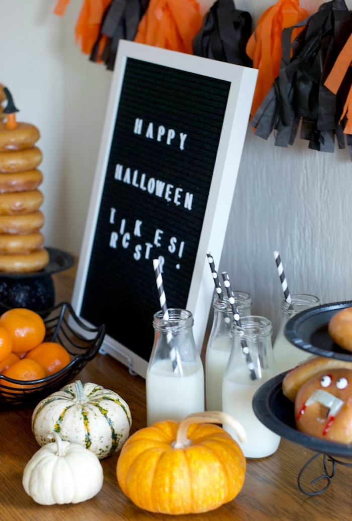 Pumpkins + Decor from a Donut Be Tricked! Halloween Party on Kara's Party Ideas | KarasPartyIdeas.com (18)