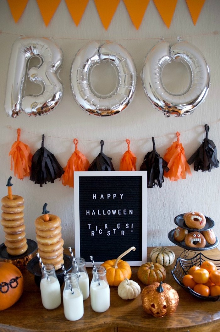 Halloween Party Table from a Donut Be Tricked! Halloween Party on Kara's Party Ideas | KarasPartyIdeas.com (17)