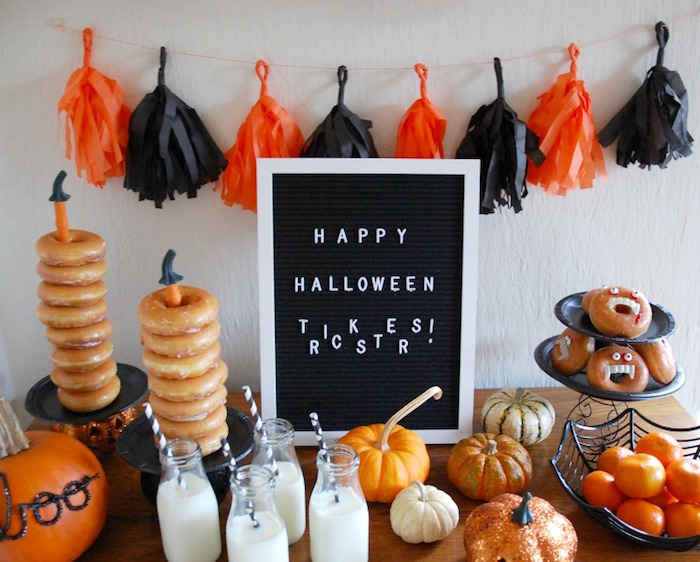 Halloween Party Table from a Donut Be Tricked! Halloween Party on Kara's Party Ideas | KarasPartyIdeas.com (16)