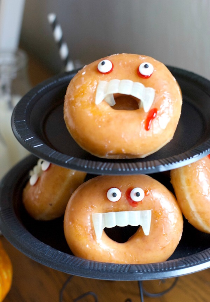 Vampire Donuts from a Donut Be Tricked! Halloween Party on Kara's Party Ideas | KarasPartyIdeas.com (13)