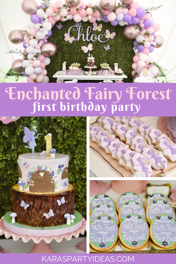 Enchanted Fairy Forest First Birthday Party via Kara's Party Ideas - KarasPartyIdeas.com