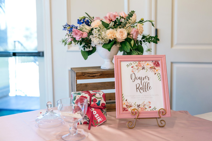 Diaper Raffle Table from an Enchanted Garden Baby Shower on Kara's Party Ideas | KarasPartyIdeas.com (20)