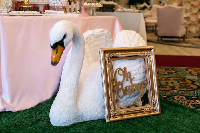 Oh Baby Swan Signage + Decor from an Enchanted Garden Baby Shower on Kara's Party Ideas | KarasPartyIdeas.com (19)