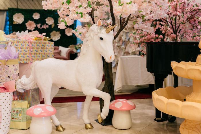 Giant Unicorn Prop from an Enchanted Garden Baby Shower on Kara's Party Ideas | KarasPartyIdeas.com (11)