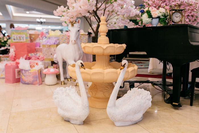 Swan Bird Bath from an Enchanted Garden Baby Shower on Kara's Party Ideas | KarasPartyIdeas.com (9)