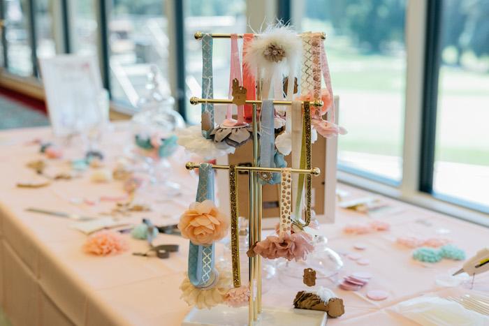 Headband Crafting Table from an Enchanted Garden Baby Shower on Kara's Party Ideas | KarasPartyIdeas.com (8)