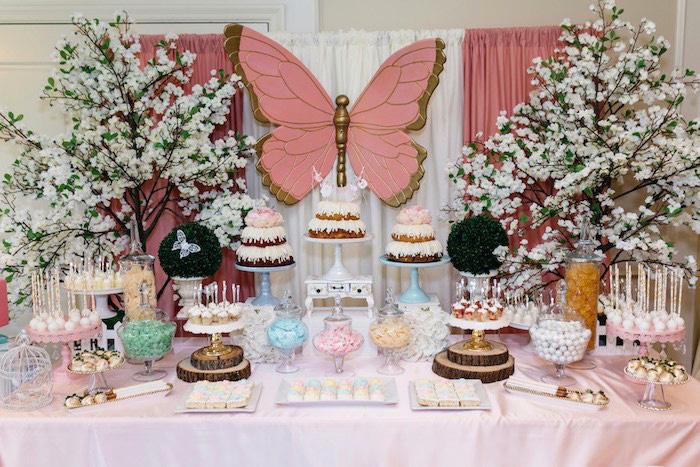 Enchanted Butterfly Dessert Table from an Enchanted Garden Baby Shower on Kara's Party Ideas | KarasPartyIdeas.com (6)