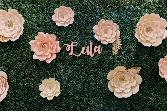 Green Paper Flower Backdrop from an Enchanted Garden Baby Shower on Kara's Party Ideas | KarasPartyIdeas.com (5)
