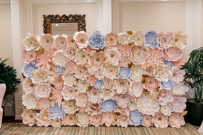 Pastel Paper Flower Backdrop from an Enchanted Garden Baby Shower on Kara's Party Ideas | KarasPartyIdeas.com (28)
