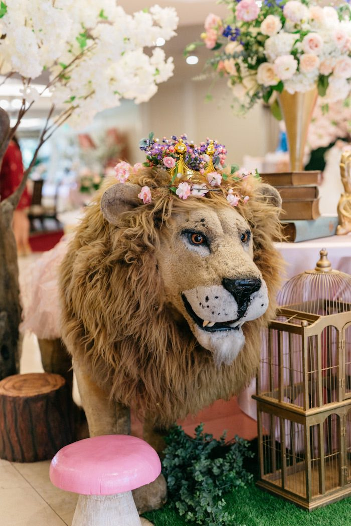 Floral Crowned Lion Prop from an Enchanted Garden Baby Shower on Kara's Party Ideas | KarasPartyIdeas.com (25)