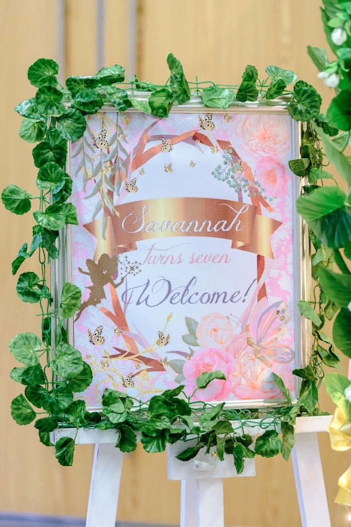 Fairy Themed Welcome Sign from a Fairy Princess Birthday Party on Kara's Party Ideas | KarasPartyIdeas.com (13)