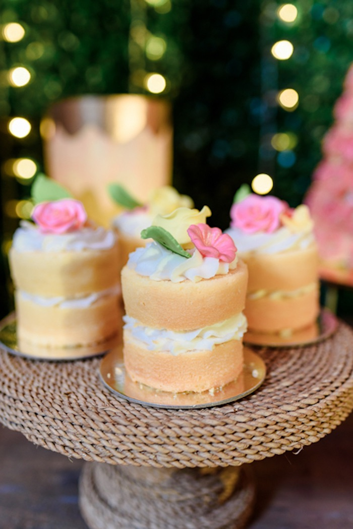 Mini Flower Cakes from a Fairy Princess Birthday Party on Kara's Party Ideas | KarasPartyIdeas.com (11)