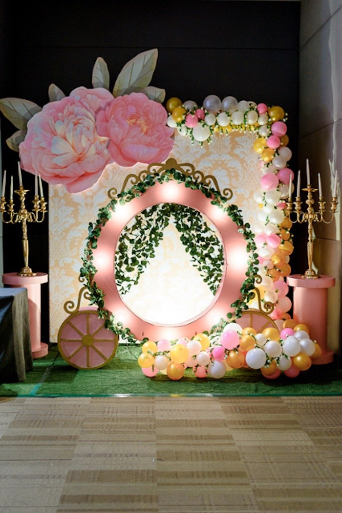 Garden Carriage Backdrop from a Fairy Princess Birthday Party on Kara's Party Ideas | KarasPartyIdeas.com (5)