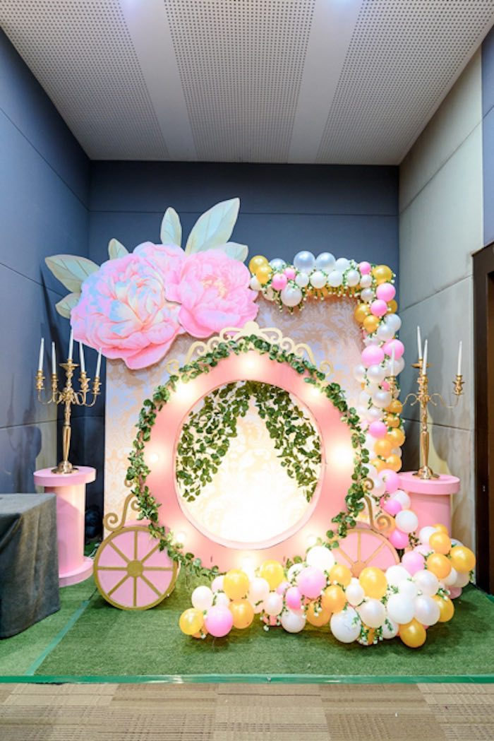 Garden Carriage Backdrop from a Fairy Princess Birthday Party on Kara's Party Ideas | KarasPartyIdeas.com (4)