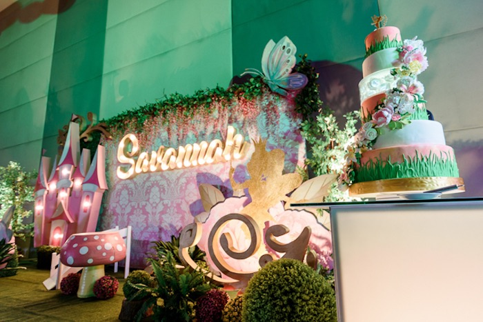 Fairy Backdrop + Cake Table from a Fairy Princess Birthday Party on Kara's Party Ideas | KarasPartyIdeas.com (26)