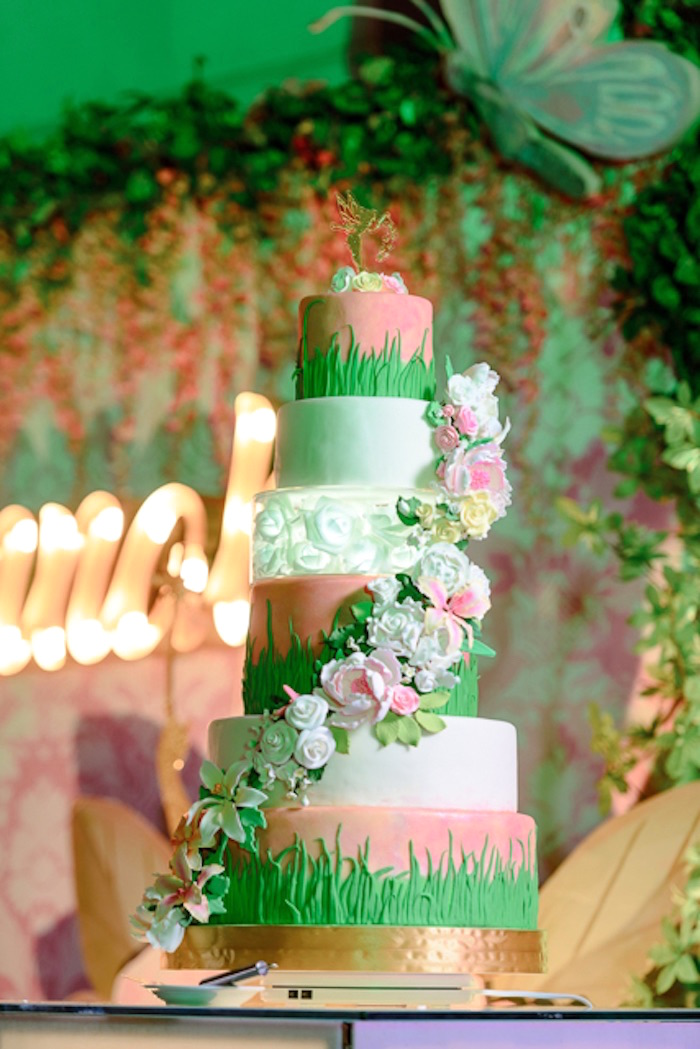 Tiered Fairy Cake from a Fairy Princess Birthday Party on Kara's Party Ideas | KarasPartyIdeas.com (24)