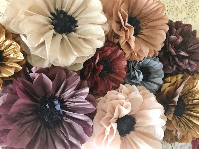 Paper Flower Backdrop from a Fall Floral First Birthday Party on Kara's Party Ideas | KarasPartyIdeas.com (4)