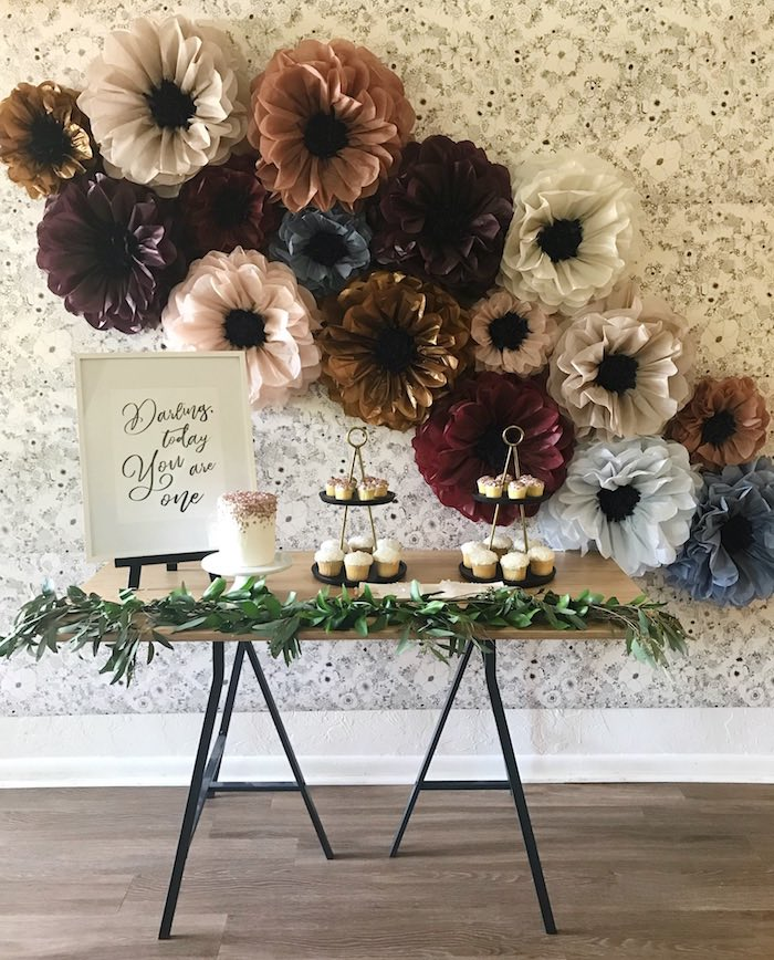 Floral Fall Party Table from a Fall Floral First Birthday Party on Kara's Party Ideas | KarasPartyIdeas.com (7)