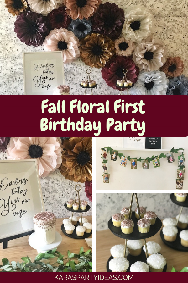 Fall Floral First Birthday Party via Kara's Party Ideas - KarasPartyIdeas.com
