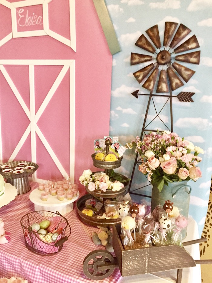 Farm Themed Dessert Table from a Farm Girl Baby Shower on Kara's Party Ideas | KarasPartyIdeas.com (4)