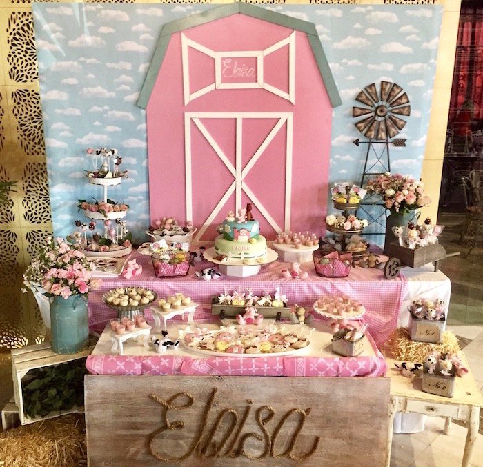 Pink Baryard Dessert Table from a Farm Girl Baby Shower on Kara's Party Ideas | KarasPartyIdeas.com (13)