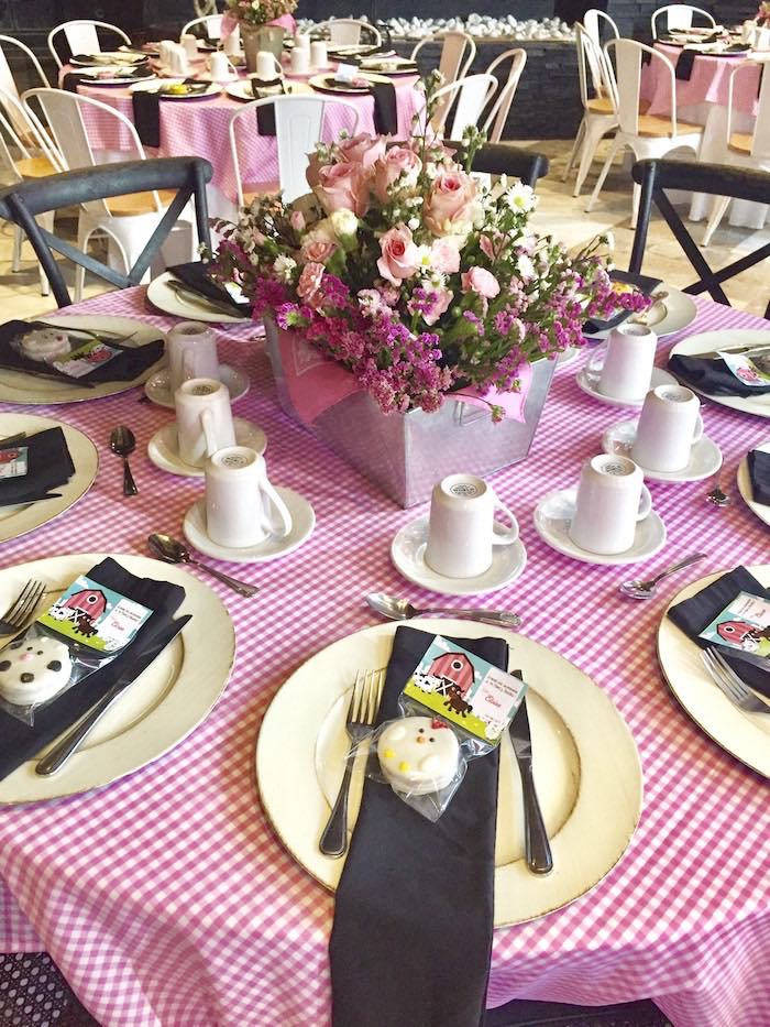 Farm-inspired Table Setting from a Farm Girl Baby Shower on Kara's Party Ideas | KarasPartyIdeas.com (12)