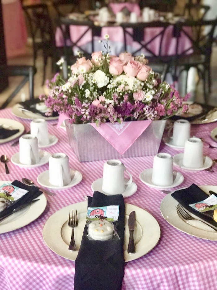 Girly Farm Themed Guest Table from a Farm Girl Baby Shower on Kara's Party Ideas | KarasPartyIdeas.com (7)