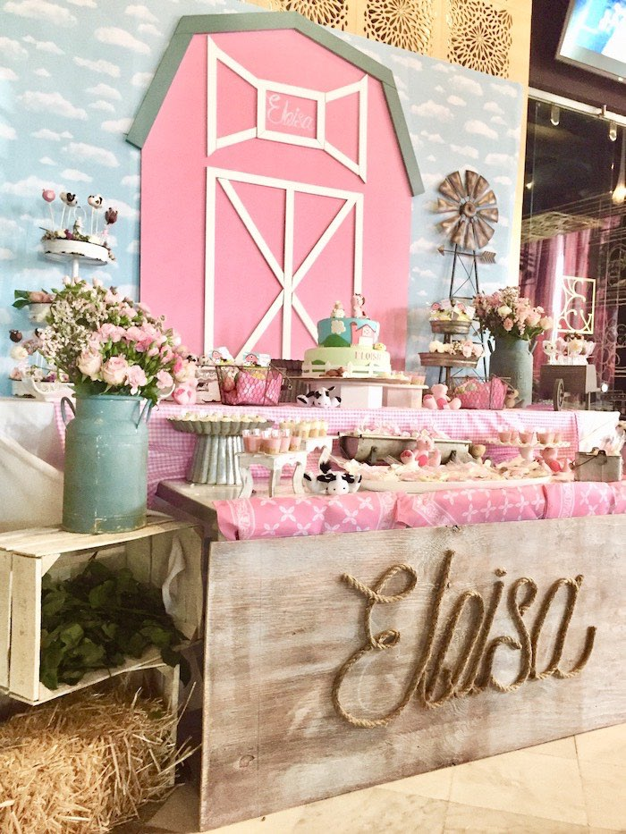 Pink Barnyard Dessert Table from a Farm Girl Baby Shower on Kara's Party Ideas | KarasPartyIdeas.com (6)