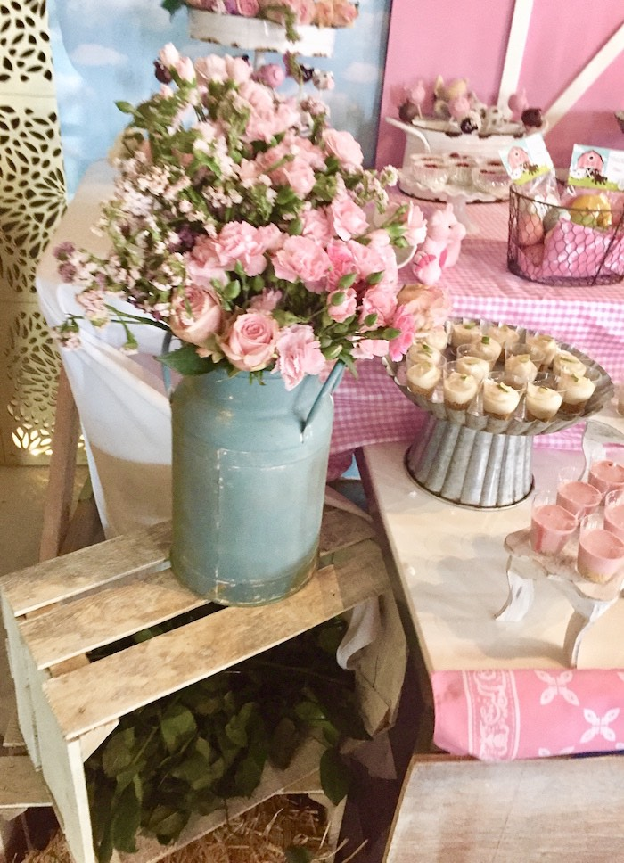 Milk Can Blooms from a Farm Girl Baby Shower on Kara's Party Ideas | KarasPartyIdeas.com (5)