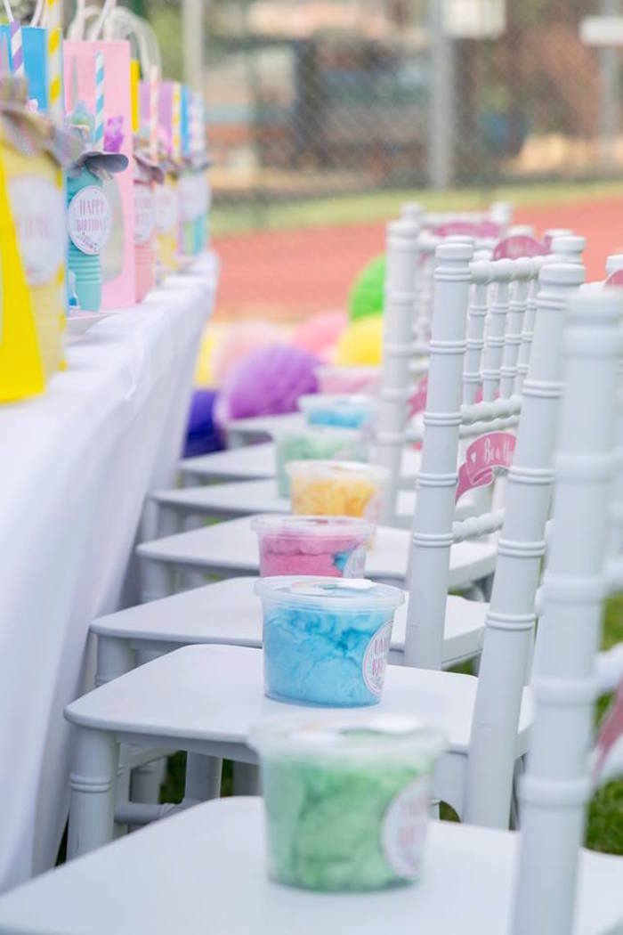 Party Chairs adorned with Rainbow Cotton Candy from a Floral Unicorn Birthday Party on Kara's Party Ideas | KarasPartyIdeas.com (29)
