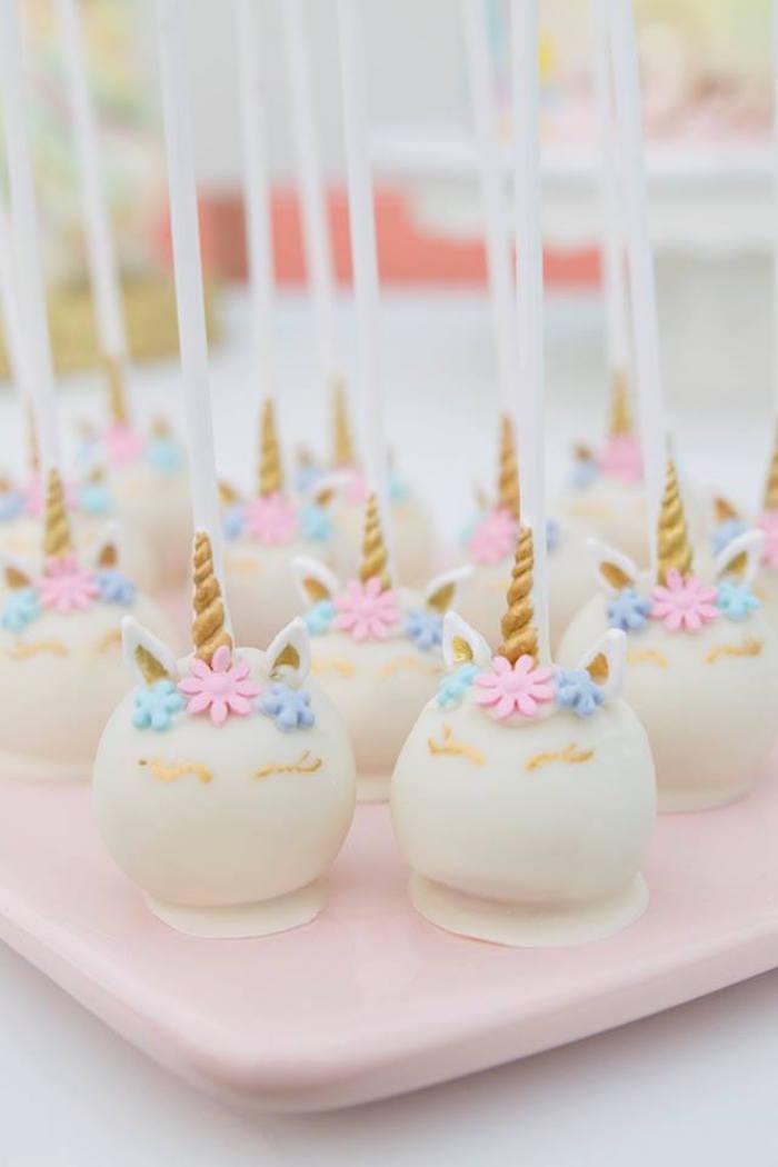 Unicorn Cake Pops from a Floral Unicorn Birthday Party on Kara's Party Ideas | KarasPartyIdeas.com (26)