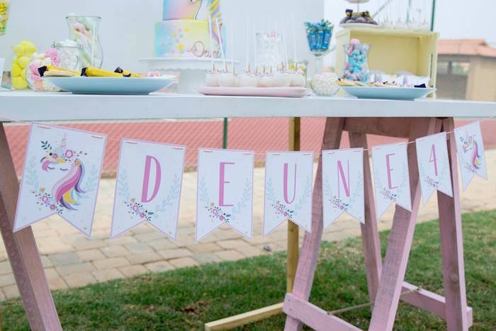 Unicorn Banner + Party Table from a Floral Unicorn Birthday Party on Kara's Party Ideas | KarasPartyIdeas.com (25)