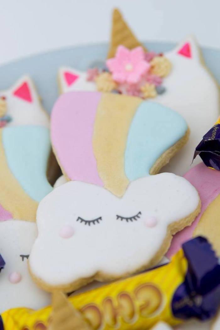 Rainbow Cloud Cookies from a Floral Unicorn Birthday Party on Kara's Party Ideas | KarasPartyIdeas.com (20)