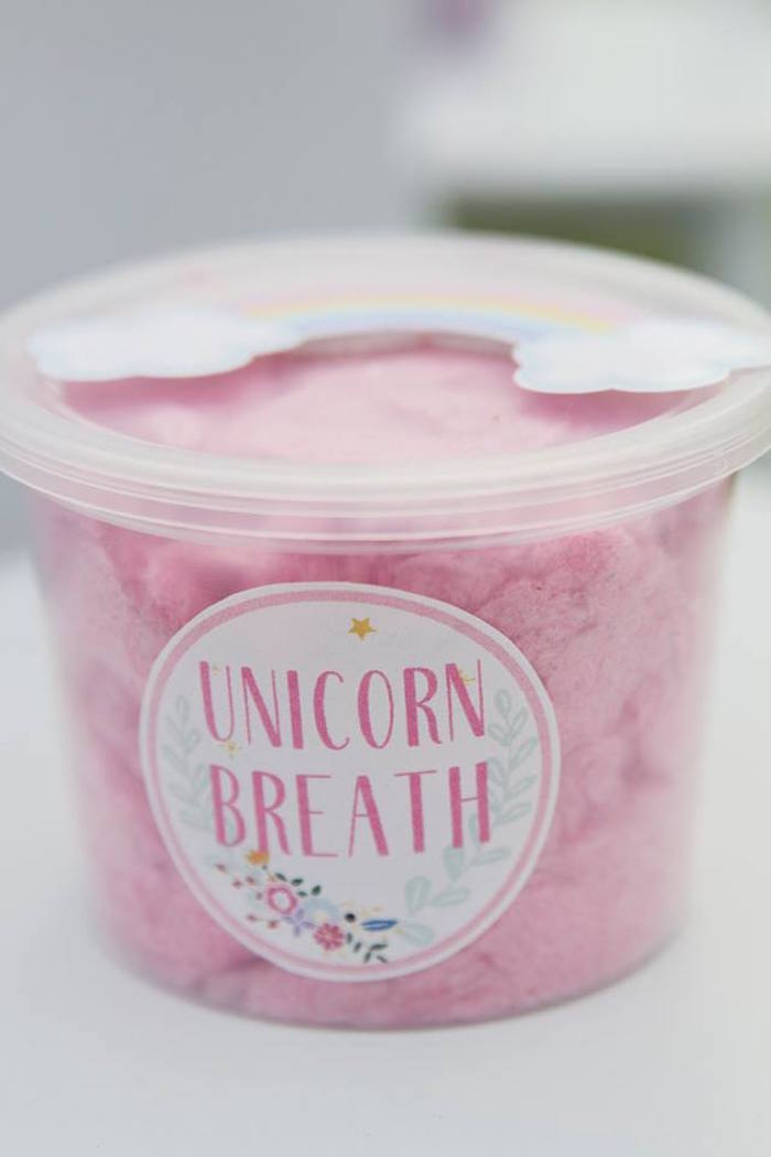 Unicorn Breath Cotton Candy from a Floral Unicorn Birthday Party on Kara's Party Ideas | KarasPartyIdeas.com (19)