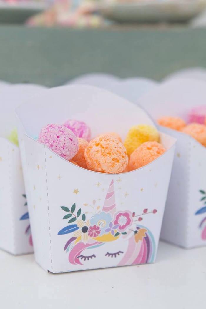 Unicorn Snack Cups from a Floral Unicorn Birthday Party on Kara's Party Ideas | KarasPartyIdeas.com (17)