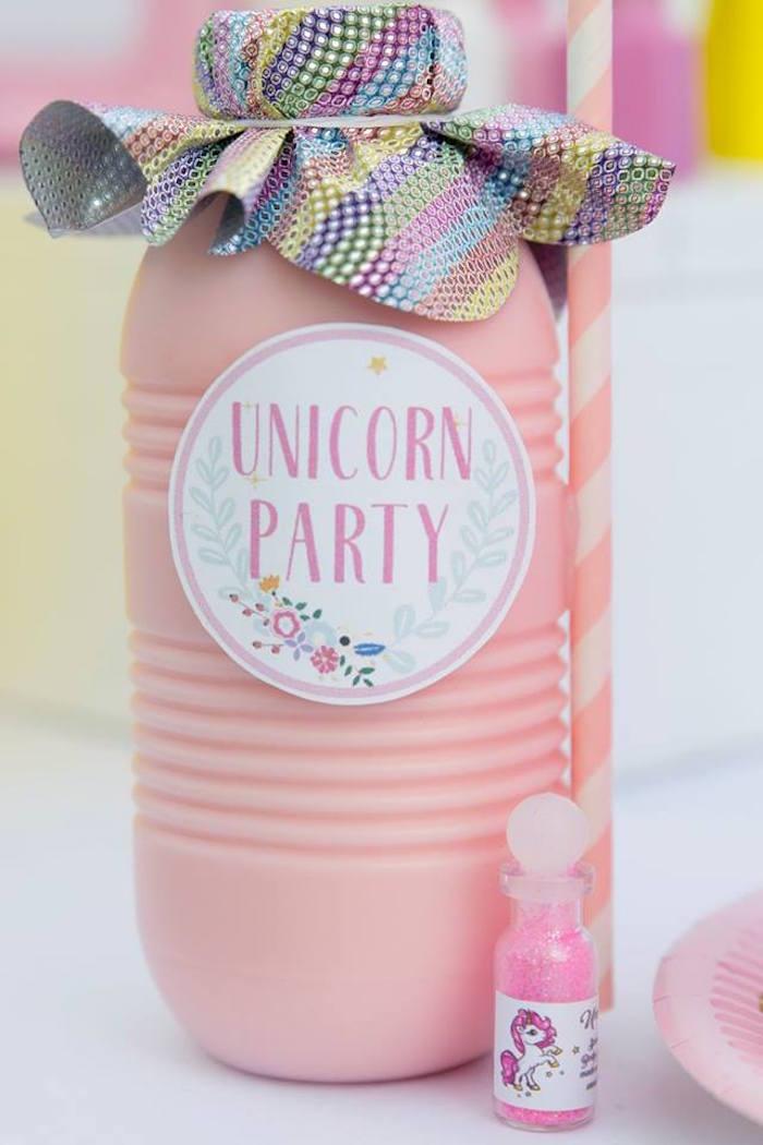 Unicorn Drink Bottles from a Floral Unicorn Birthday Party on Kara's Party Ideas | KarasPartyIdeas.com (16)