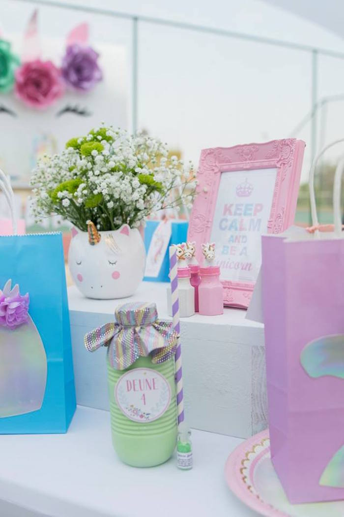 Unicorn Party Table - Detail from a Floral Unicorn Birthday Party on Kara's Party Ideas | KarasPartyIdeas.com (15)