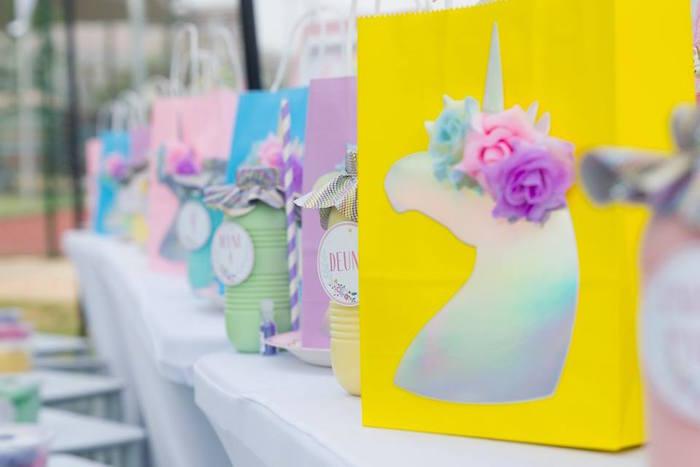 Unicorn Party Bag from a Floral Unicorn Birthday Party on Kara's Party Ideas | KarasPartyIdeas.com (11)
