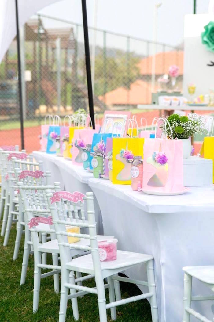 Unicorn-inspired Guest Table from a Floral Unicorn Birthday Party on Kara's Party Ideas | KarasPartyIdeas.com (10)