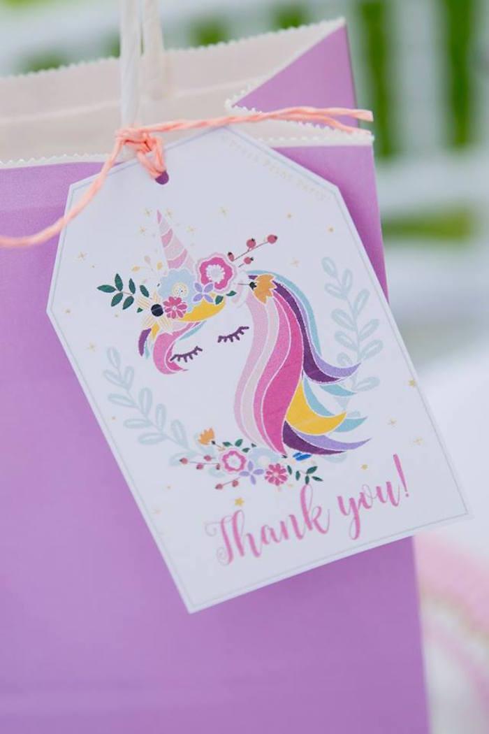 Unicorn Favor Tag from a Floral Unicorn Birthday Party on Kara's Party Ideas | KarasPartyIdeas.com (37)