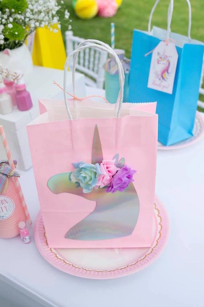 Unicorn Lunch + Favor Bag from a Floral Unicorn Birthday Party on Kara's Party Ideas | KarasPartyIdeas.com (9)