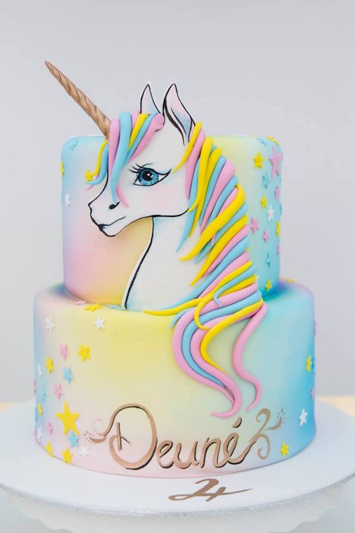Unicorn Cake from a Floral Unicorn Birthday Party on Kara's Party Ideas | KarasPartyIdeas.com (7)
